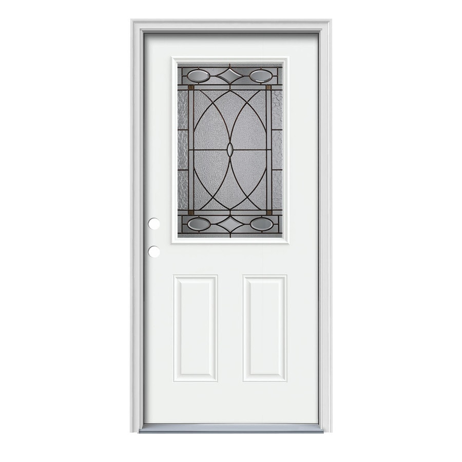 JELD-WEN Hutton Decorative Glass Right-Hand Inswing Modern White Painted Steel Prehung Entry Door with Insulating Core (Common: 36-in x 80-in; Actual: 37.5000-in x 81.7500-in)