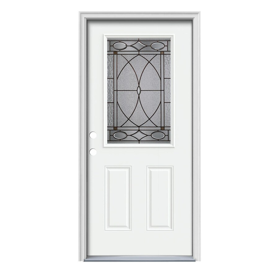 JELD-WEN Hutton 2-Panel Insulating Core Half Lite Right-Hand Inswing Modern White Steel Painted Prehung Entry Door (Common: 36-in x 80-in; Actual: 37.5-in x 81.75-in)