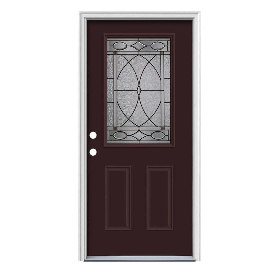 JELD-WEN Hutton Decorative Glass Right-Hand Inswing Currant Painted Steel Prehung Entry Door with Insulating Core (Common: 36-in x 80-in; Actual: 37.5000-in x 81.7500-in)