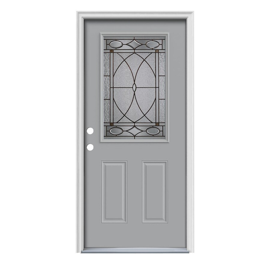JELD-WEN Hutton Decorative Glass Right-Hand Inswing Infinity Grey Painted Steel Prehung Entry Door with Insulating Core (Common: 36-in x 80-in; Actual: 37.5-in x 81.75-in)