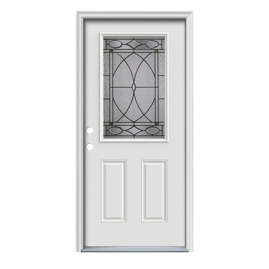 Shop Jeld Wen Hutton Decorative Glass Right Hand Inswing Primed Painted Steel Prehung Entry Door