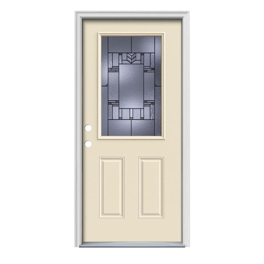 JELD-WEN Leighton Decorative Glass Right-Hand Inswing Bisque Painted Steel Prehung Entry Door with Insulating Core (Common: 36-in x 80-in; Actual: 37.5000-in x 81.7500-in)