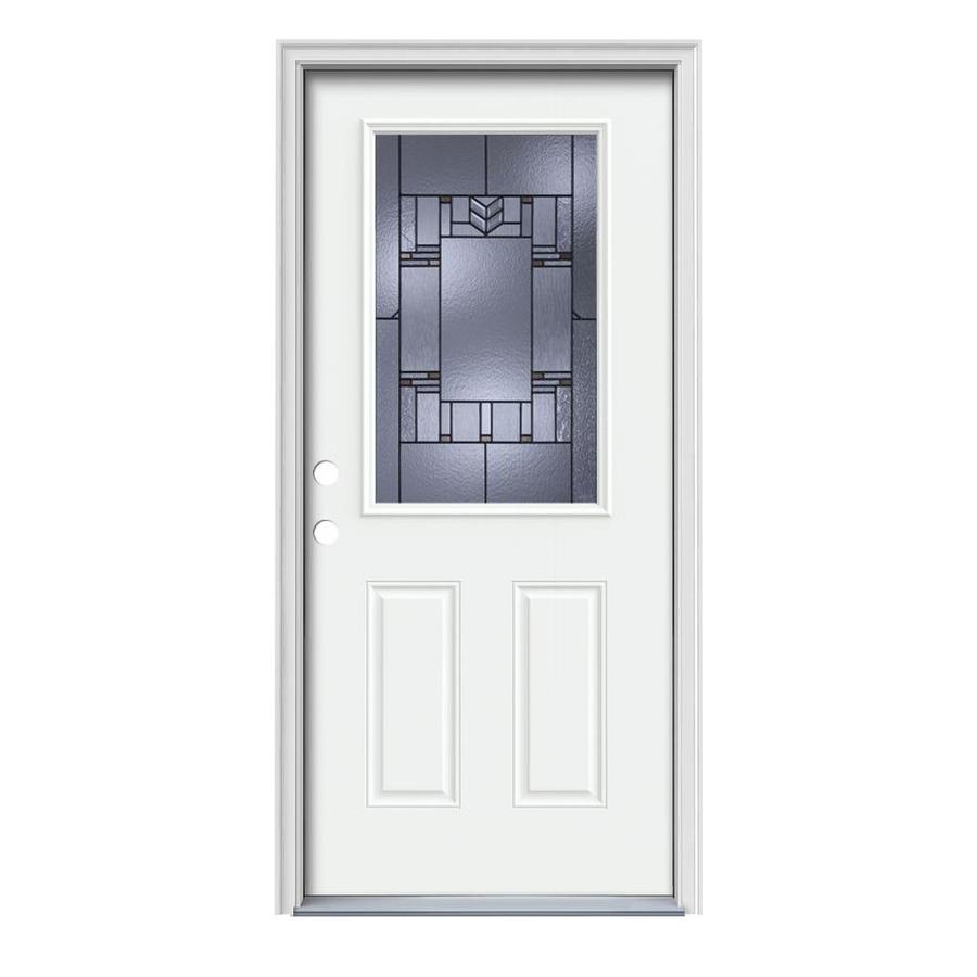 JELD-WEN Leighton Decorative Glass Right-Hand Inswing Modern White Steel Painted Entry Door (Common: 36-in x 80-in; Actual: 37.5000-in x 81.7500-in)