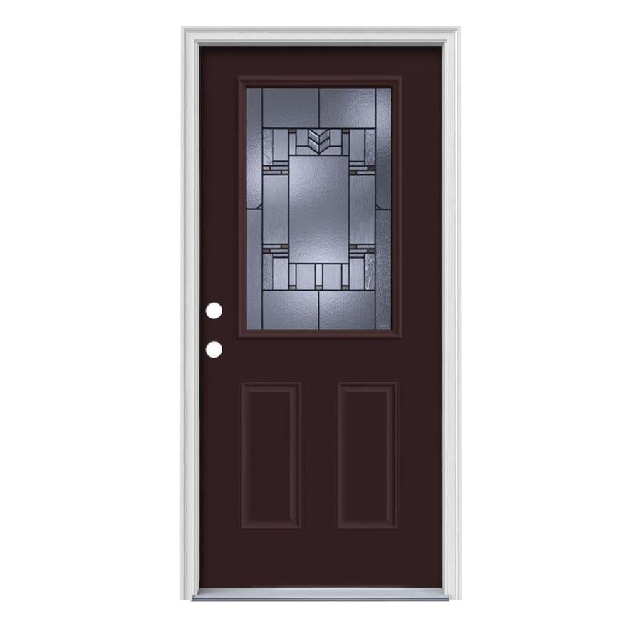 JELD-WEN Leighton Decorative Glass Right-Hand Inswing Currant Steel Painted Entry Door (Common: 36-in x 80-in; Actual: 37.5-in x 81.75-in)