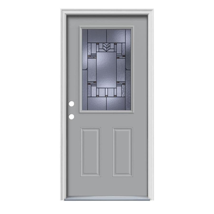 Shop jeld wen leighton 2 panel insulating core half lite right hand inswing infinity grey steel - Painting a steel exterior door model ...