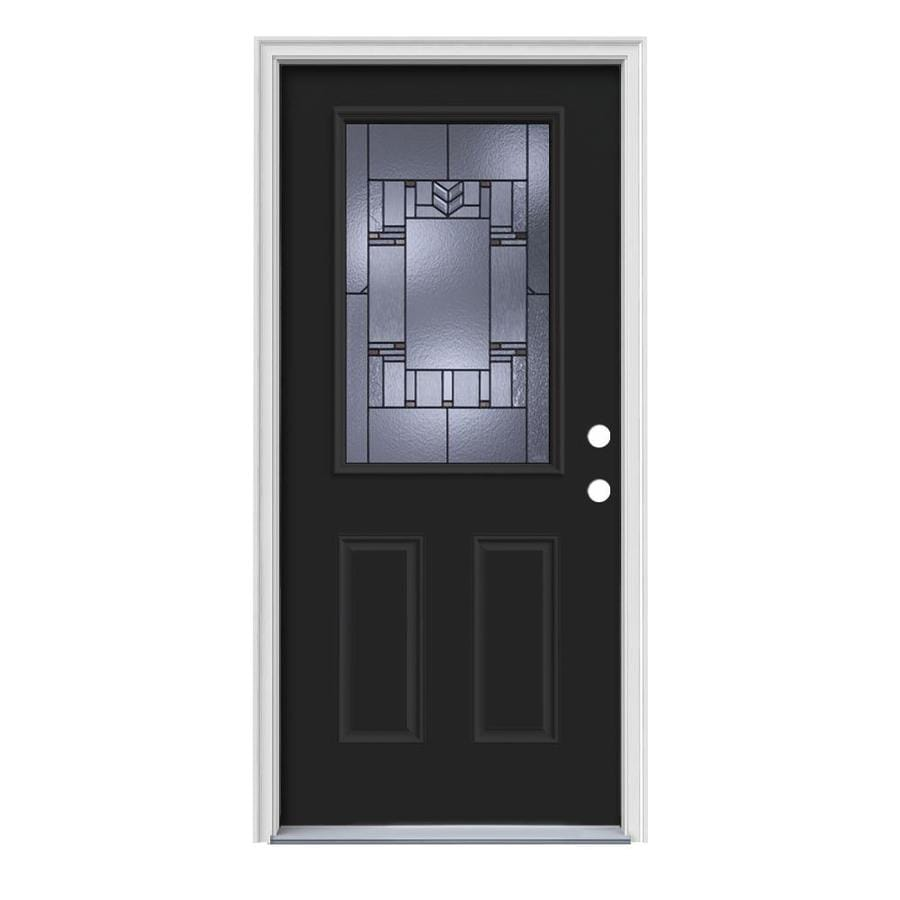 JELD-WEN Leighton Decorative Glass Right-Hand Inswing Peppercorn Steel Painted Entry Door (Common: 36-in x 80-in; Actual: 37.5-in x 81.75-in)