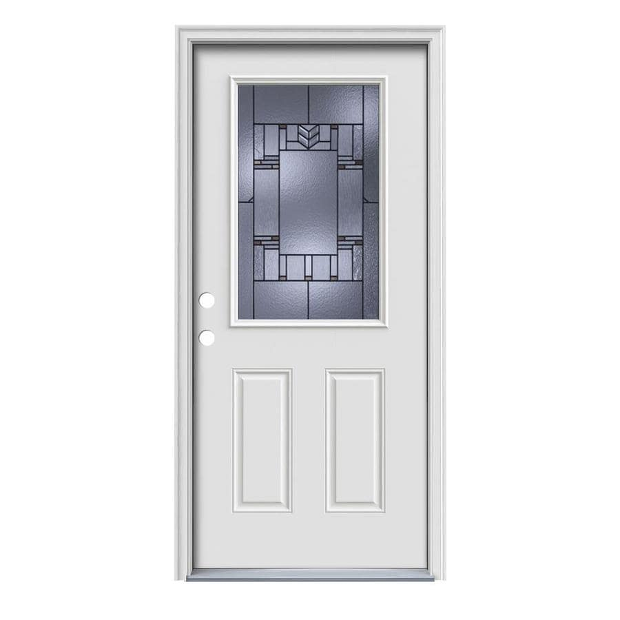 Shop jeld wen leighton decorative glass right hand inswing for Steel entry doors with glass