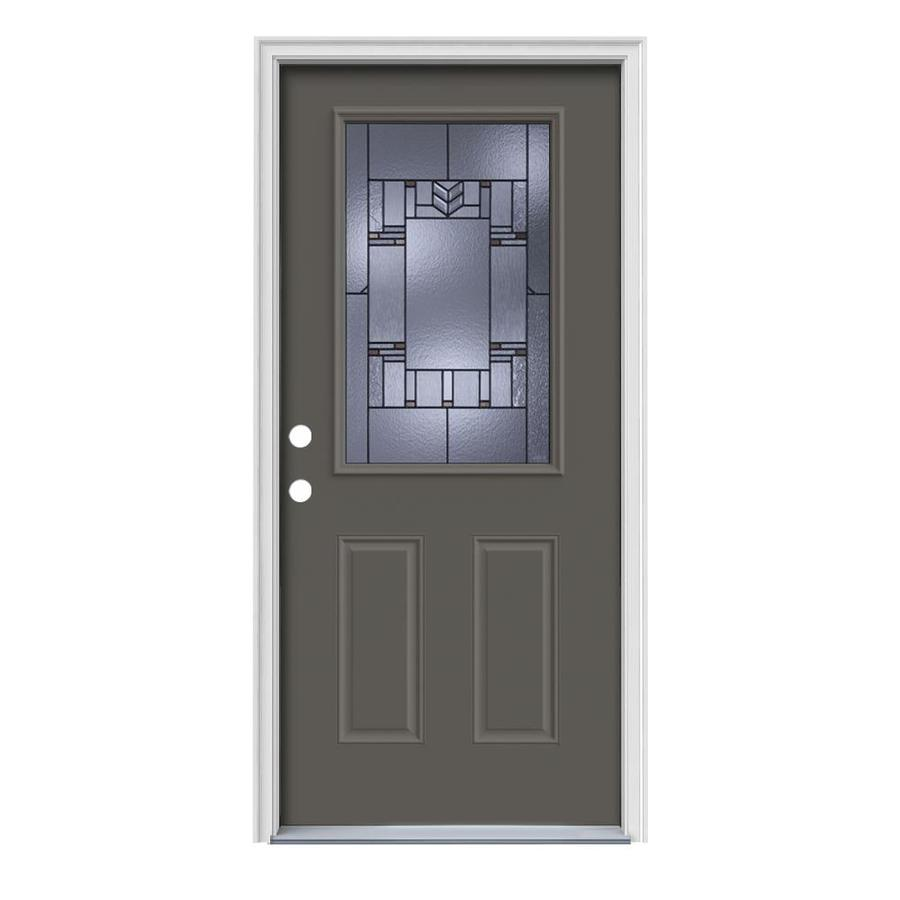 JELD-WEN Leighton Decorative Glass Right-Hand Inswing Timber Gray Painted Steel Prehung Entry Door with Insulating Core (Common: 36-in x 80-in; Actual: 37.5-in x 81.75-in)