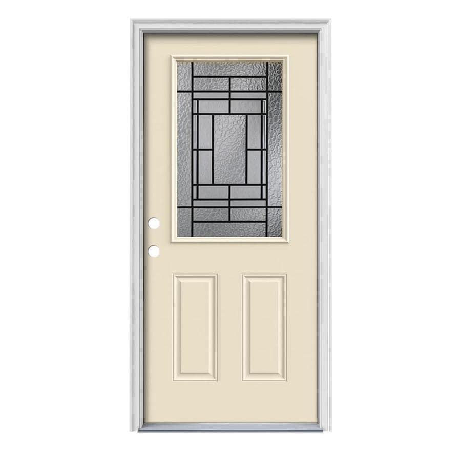 JELD-WEN Pembrook Decorative Glass Right-Hand Inswing Bisque Steel Painted Entry Door (Common: 36-in x 80-in; Actual: 37.5-in x 81.75-in)