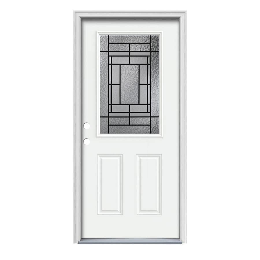 JELD-WEN Pembrook Decorative Glass Right-Hand Inswing Modern White Steel Painted Entry Door (Common: 36-in x 80-in; Actual: 37.5000-in x 81.7500-in)