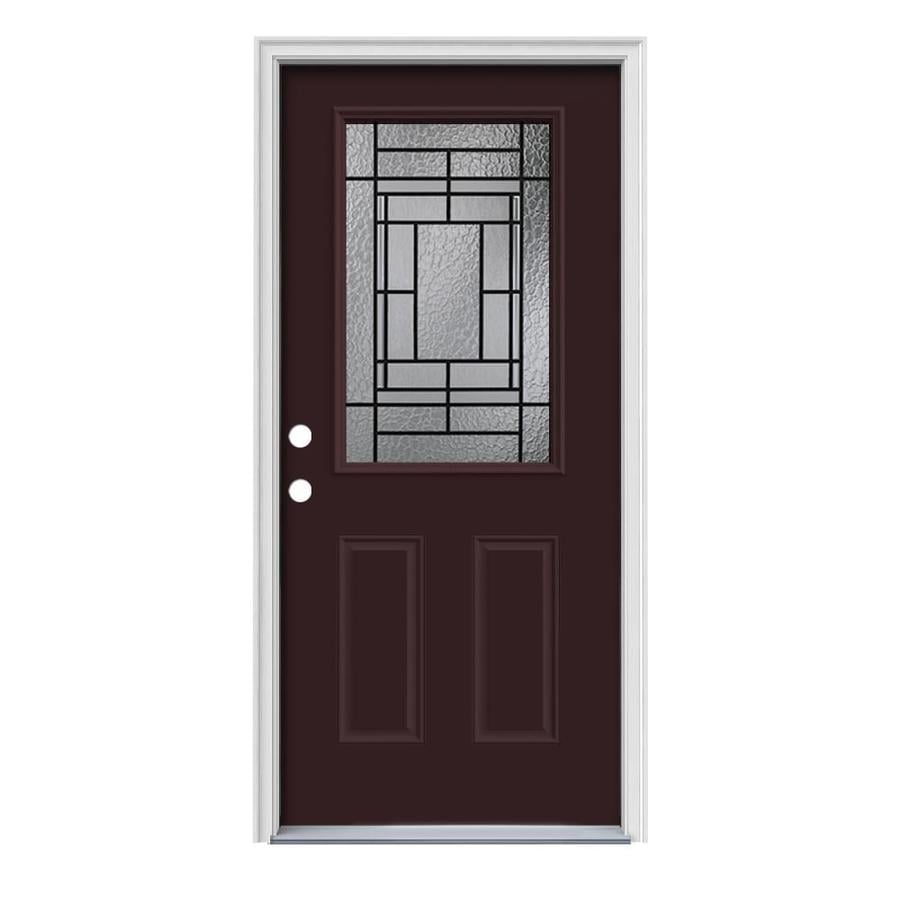 JELD-WEN Pembrook Decorative Glass Right-Hand Inswing Currant Painted Steel Prehung Entry Door with Insulating Core (Common: 36-in x 80-in; Actual: 37.5000-in x 81.7500-in)