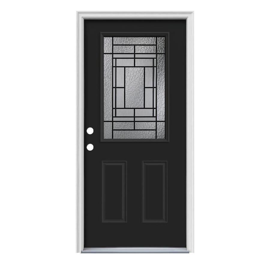 JELD-WEN Pembrook Decorative Glass Right-Hand Inswing Peppercorn Painted Steel Prehung Entry Door with Insulating Core (Common: 36-in x 80-in; Actual: 37.5000-in x 81.7500-in)