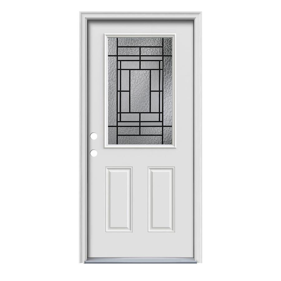 Shop jeld wen pembrook decorative glass right hand inswing for Exterior door insulation