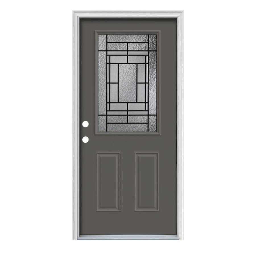 JELD-WEN Pembrook Decorative Glass Right-Hand Inswing Timber Gray Steel Painted Entry Door (Common: 36-in x 80-in; Actual: 37.5000-in x 81.7500-in)