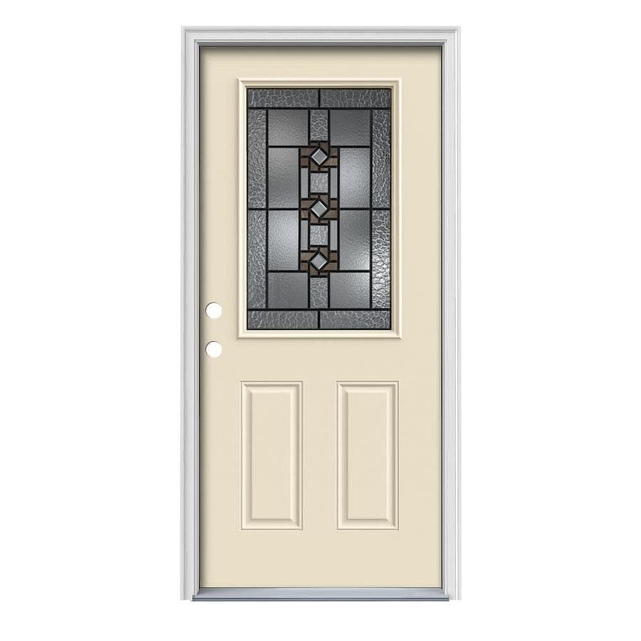 JELD-WEN Sonora Decorative Glass Right-Hand Inswing Bisque Painted Steel Prehung Entry Door with Insulating Core (Common: 36-in x 80-in; Actual: 37.5000-in x 81.7500-in)