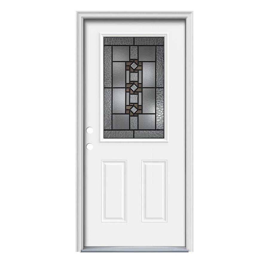 JELD-WEN Sonora 2-panel Insulating Core Half Lite Right-Hand Inswing Modern White Steel Painted Prehung Entry Door (Common: 36-in x 80-in; Actual: 37.5-in x 81.75-in)
