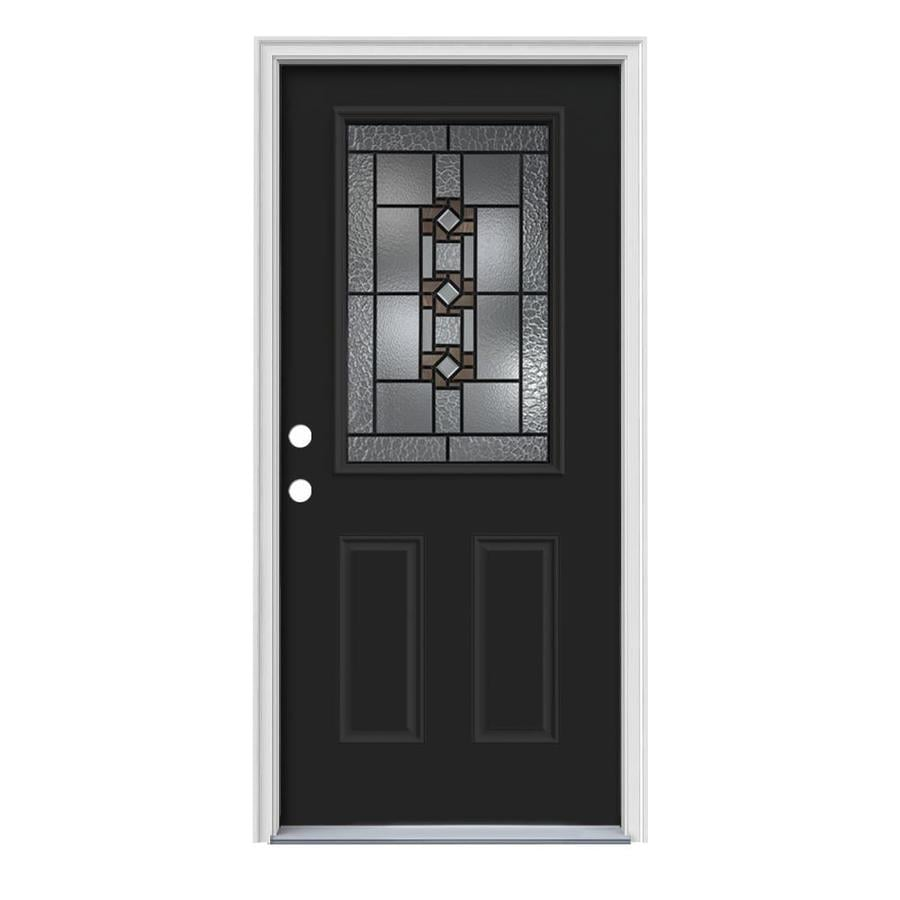 JELD-WEN Sonora Decorative Glass Right-Hand Inswing Peppercorn Painted Steel Prehung Entry Door with Insulating Core (Common: 36-in x 80-in; Actual: 37.5-in x 81.75-in)