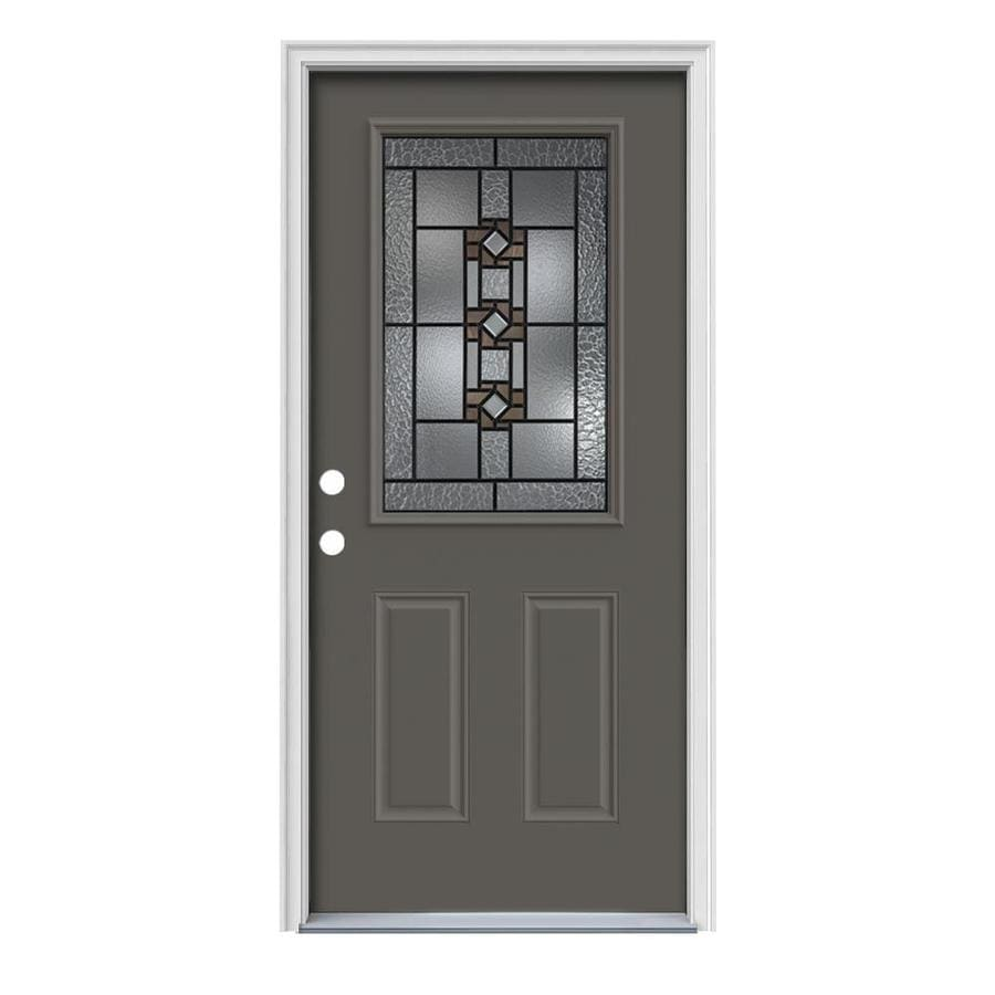 JELD-WEN Sonora Decorative Glass Right-Hand Inswing Timber Gray Painted Steel Prehung Entry Door with Insulating Core (Common: 36-in x 80-in; Actual: 37.5-in x 81.75-in)