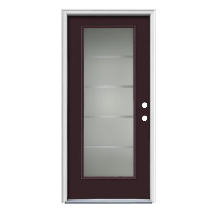 Shop Jeld Wen Crosslines Decorative Glass Left Hand Inswing Currant Painted Steel Prehung Entry