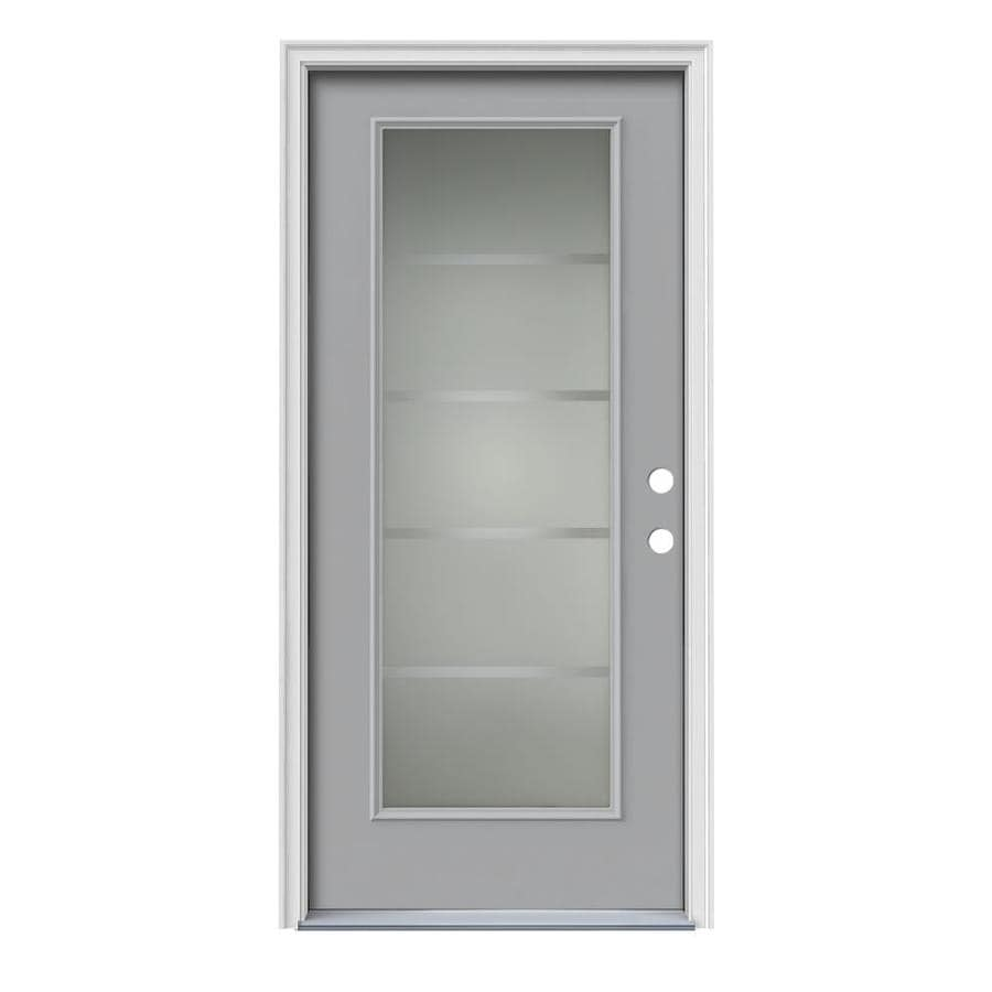 Shop jeld wen crosslines full lite decorative glass left for Exterior door insulation