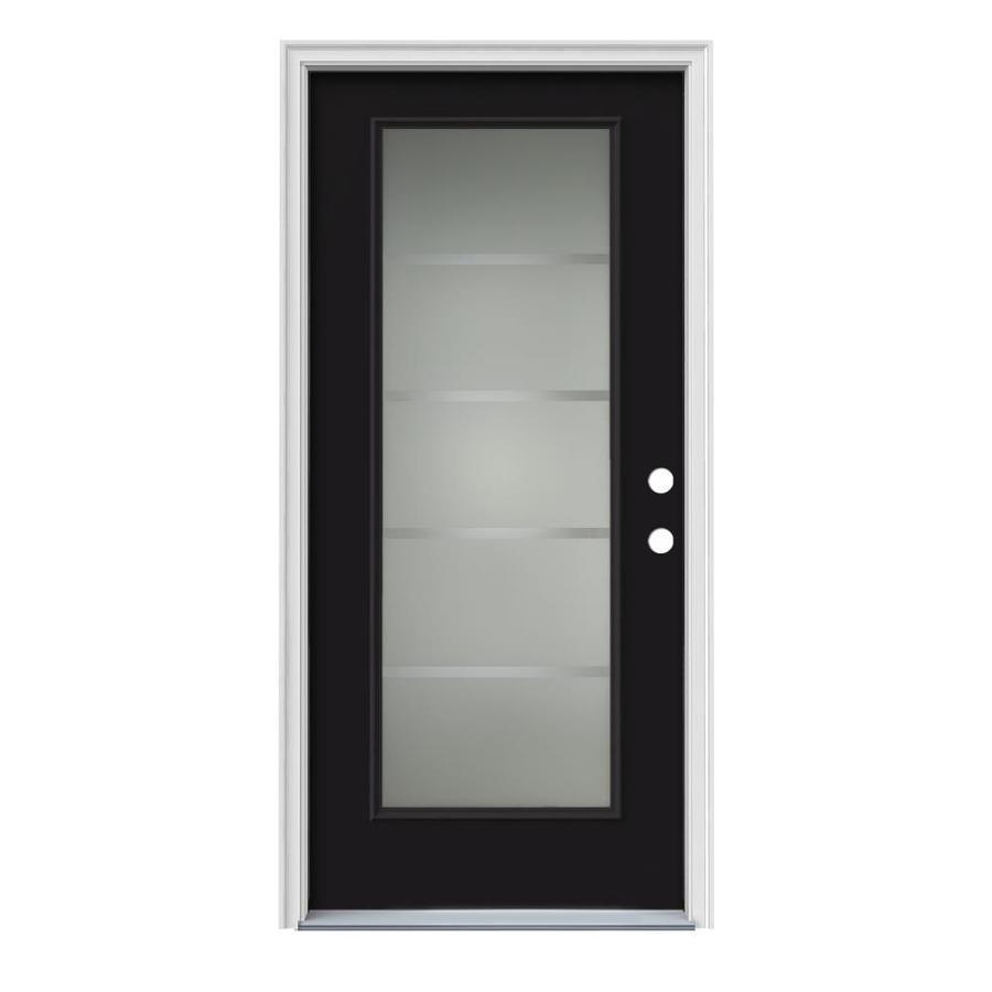 JELD-WEN Crosslines Decorative Glass Left-Hand Inswing Peppercorn Steel Painted Entry Door (Common: 36-in x 80-in; Actual: 37.5000-in x 81.7500-in)