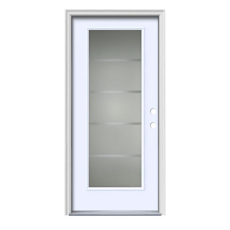 JELD WEN Crosslines Decorative Glass Left Hand Inswing Primed Painted Steel  Prehung Entry Door