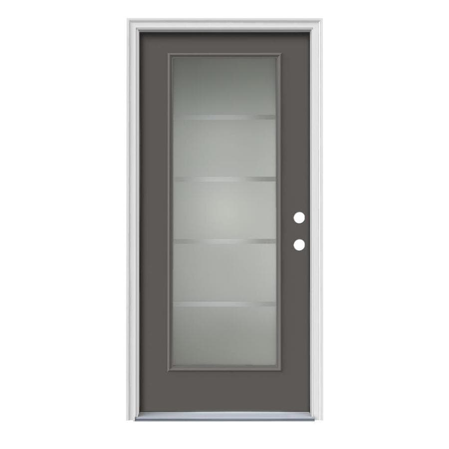 Shop jeld wen crosslines decorative glass left hand for Decorative glass for entry doors