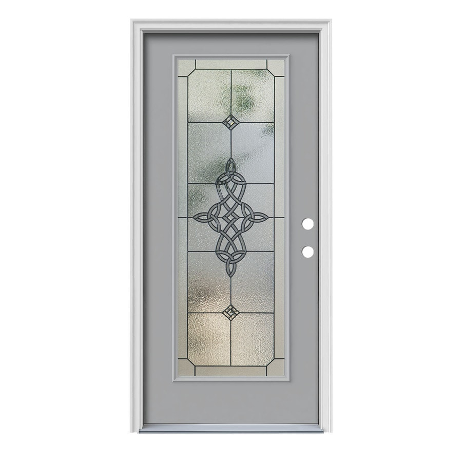 JELD-WEN Dylan Decorative Glass Left-Hand Inswing Infinity Grey Painted Steel Prehung Entry Door with Insulating Core (Common: 36-in x 80-in; Actual: 37.5000-in x 81.7500-in)