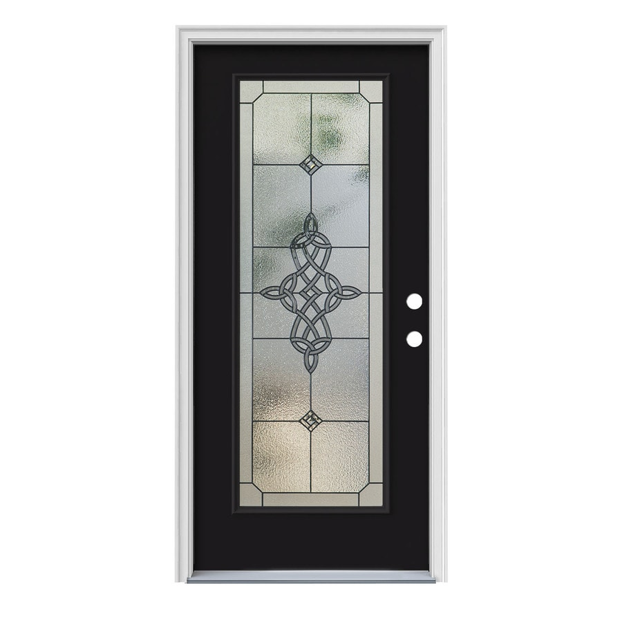 JELD-WEN Dylan Decorative Glass Left-Hand Inswing Peppercorn Steel Painted Entry Door (Common: 36-in x 80-in; Actual: 37.5000-in x 81.7500-in)