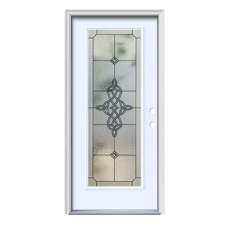 JELD-WEN Dylan Decorative Glass Left-Hand Inswing Primed Painted Steel Prehung Entry Door with Insulating Core (Common: 36-in x 80-in; Actual: 37.5000-in x 81.7500-in)