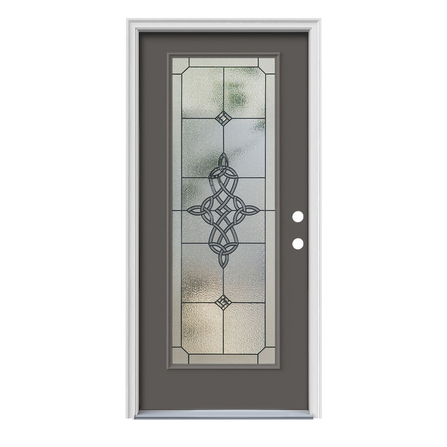 JELD-WEN Dylan Decorative Glass Left-Hand Inswing Timber Gray Painted Steel Prehung Entry Door with Insulating Core (Common: 36-in x 80-in; Actual: 37.5000-in x 81.7500-in)