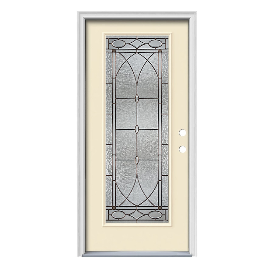 JELD-WEN Hutton Decorative Glass Left-Hand Inswing Bisque Painted Steel Prehung Entry Door with Insulating Core (Common: 36-in x 80-in; Actual: 37.5-in x 81.75-in)