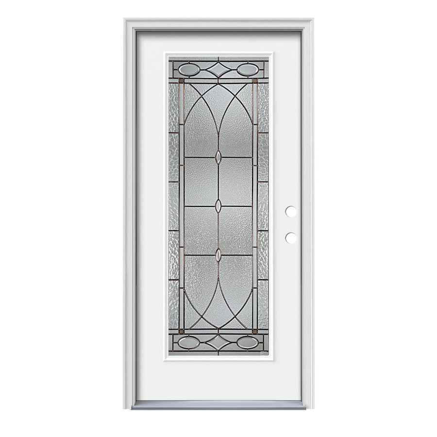 JELD-WEN Hutton Decorative Glass Left-Hand Inswing Modern White Steel Painted Entry Door (Common: 36-in x 80-in; Actual: 37.5000-in x 81.7500-in)