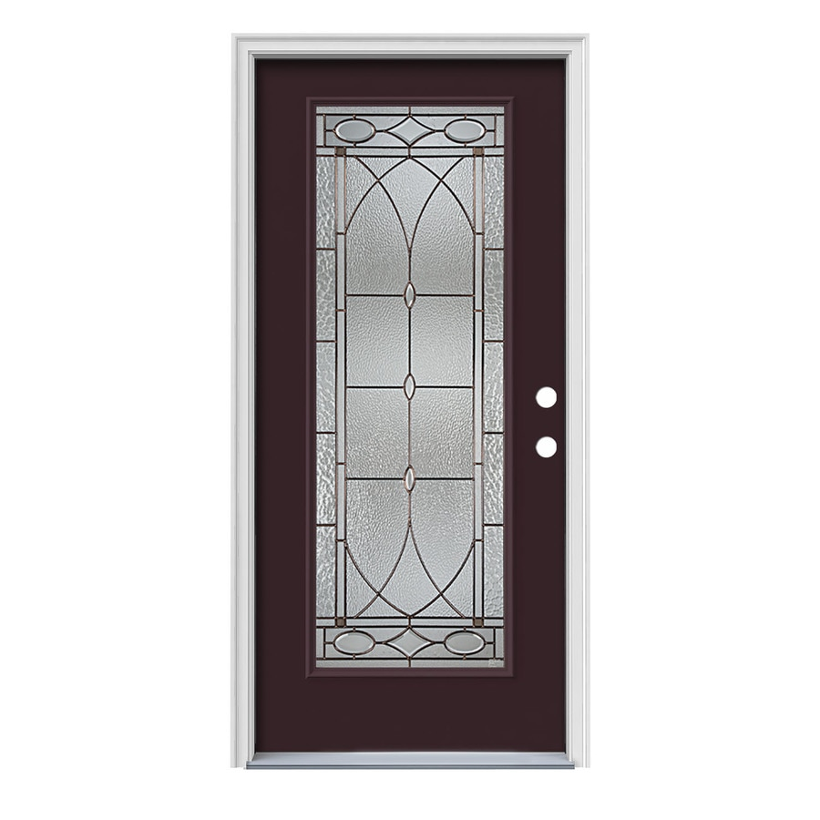 Jeld Wen Hutton Full Lite Decorative Glass Left Hand Inswing Currant Painted Steel Prehung Entry