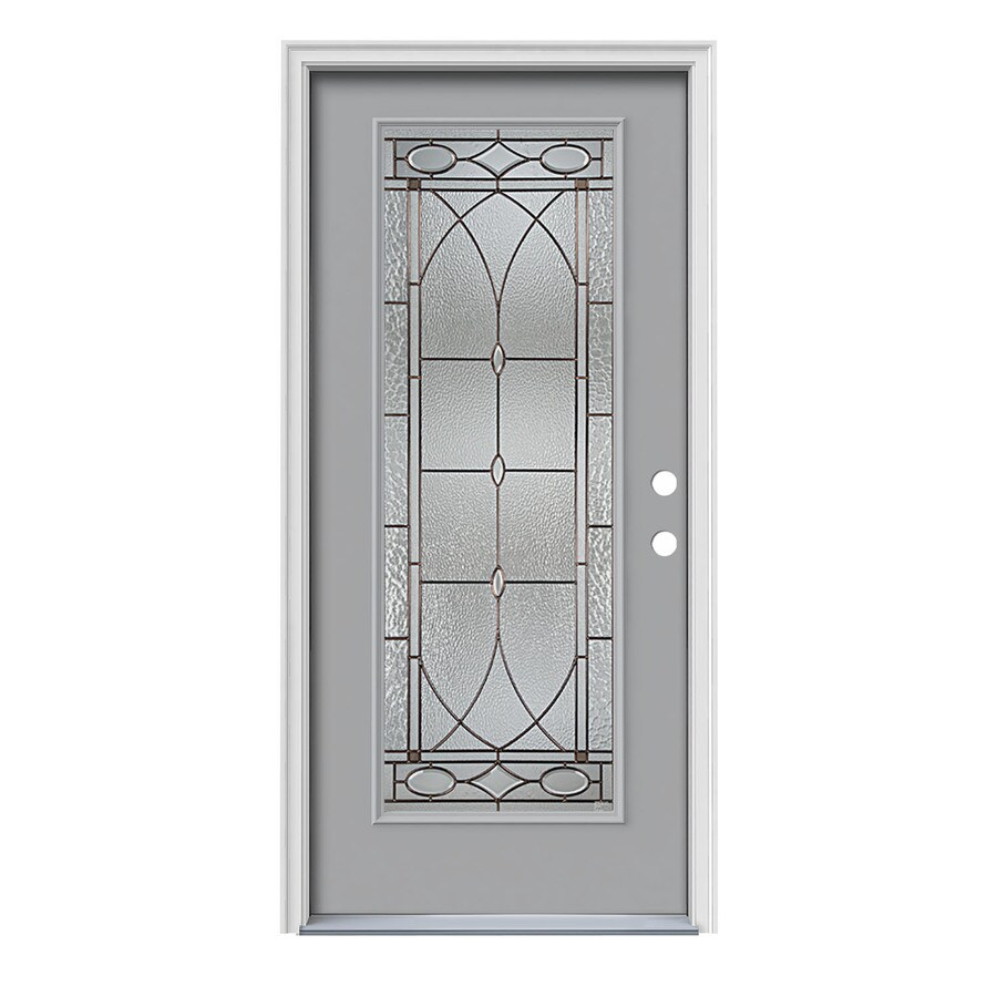 JELD-WEN Hutton Decorative Glass Left-Hand Inswing Infinity Grey Painted Steel Prehung Entry Door with Insulating Core (Common: 36-in x 80-in; Actual: 37.5-in x 81.75-in)