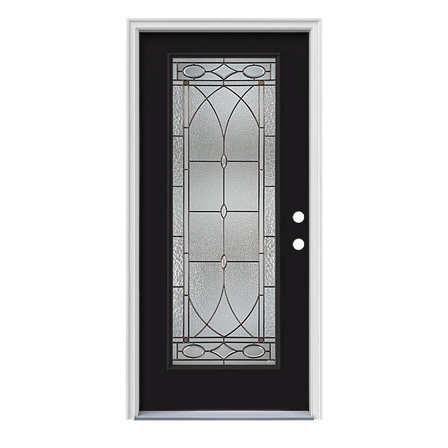 JELD-WEN Hutton Decorative Glass Left-Hand Inswing Peppercorn Steel Painted Entry Door (Common: 36-in x 80-in; Actual: 37.5000-in x 81.7500-in)