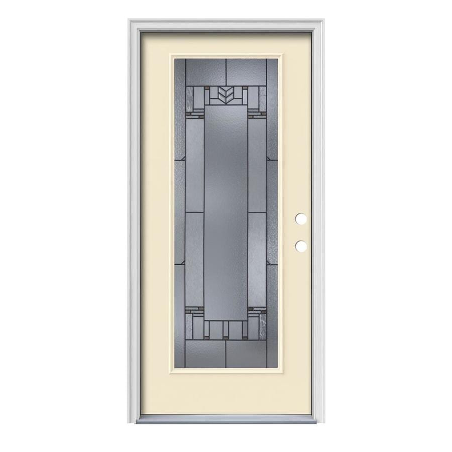 JELD-WEN Leighton Decorative Glass Left-Hand Inswing Bisque Painted Steel Prehung Entry Door with Insulating Core (Common: 36-in x 80-in; Actual: 37.5-in x 81.75-in)