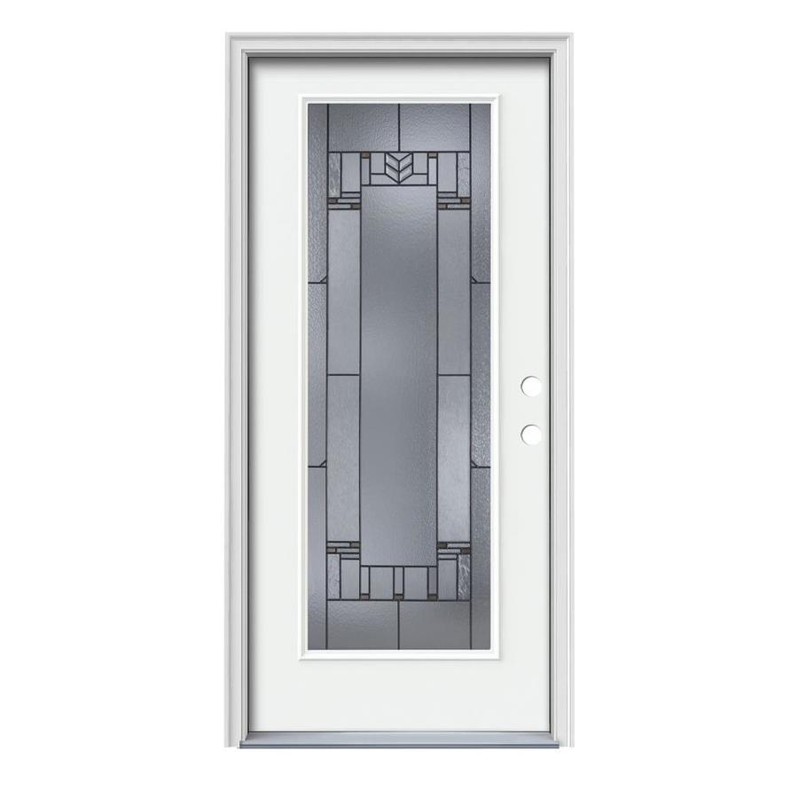JELD-WEN Leighton Decorative Glass Left-Hand Inswing Modern White Steel Painted Entry Door (Common: 36-in x 80-in; Actual: 37.5-in x 81.75-in)
