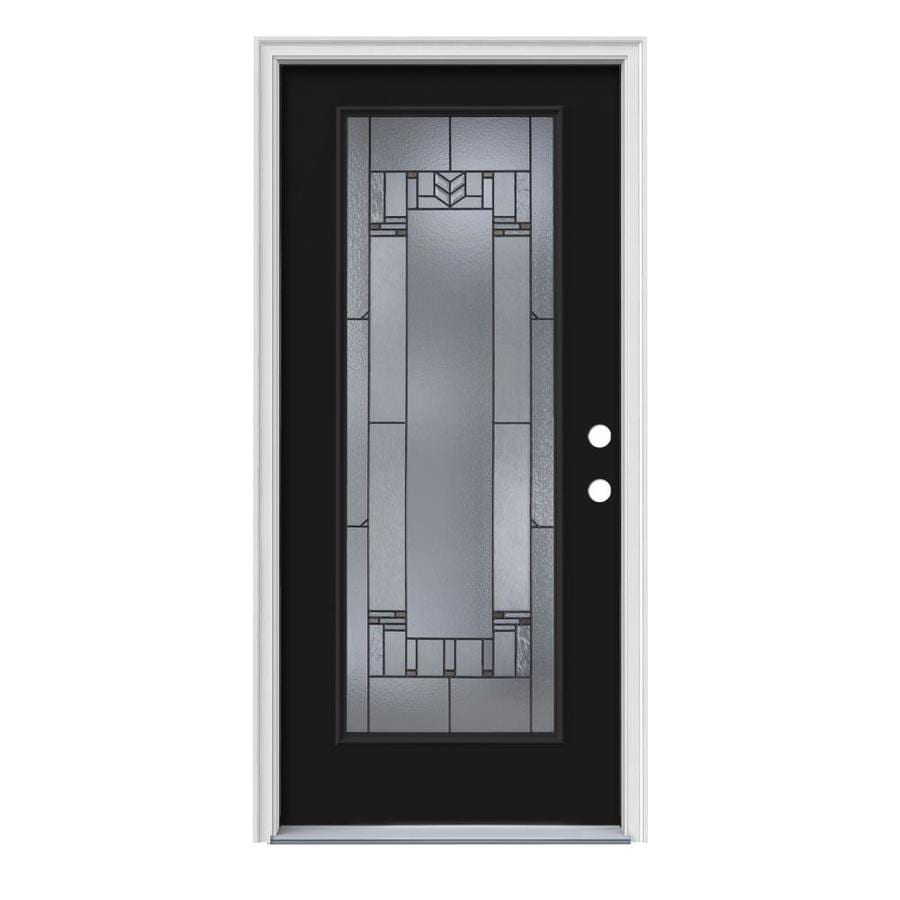 JELD-WEN Leighton Decorative Glass Left-Hand Inswing Peppercorn Steel Painted Entry Door (Common: 36-in x 80-in; Actual: 37.5000-in x 81.7500-in)