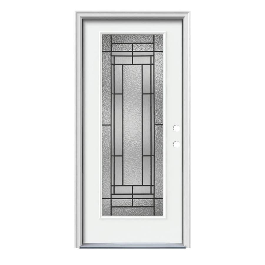 JELD-WEN Pembrook Decorative Glass Left-Hand Inswing Modern White Painted Steel Prehung Entry Door with Insulating Core (Common: 36-in x 80-in; Actual: 37.5000-in x 81.7500-in)