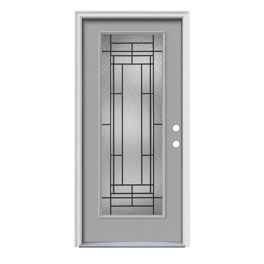 JELD-WEN Pembrook Flush Insulating Core Full Lite Left-Hand Inswing Infinity Grey Steel Painted Prehung Entry Door (Common: 36-in x 80-in; Actual: 37.5-in x 81.75-in)