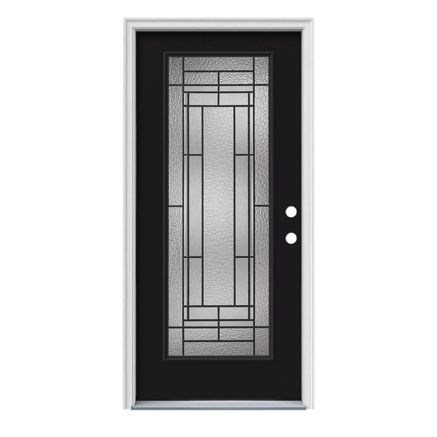 Shop jeld wen pembrook decorative glass left hand inswing for Steel entry doors with glass
