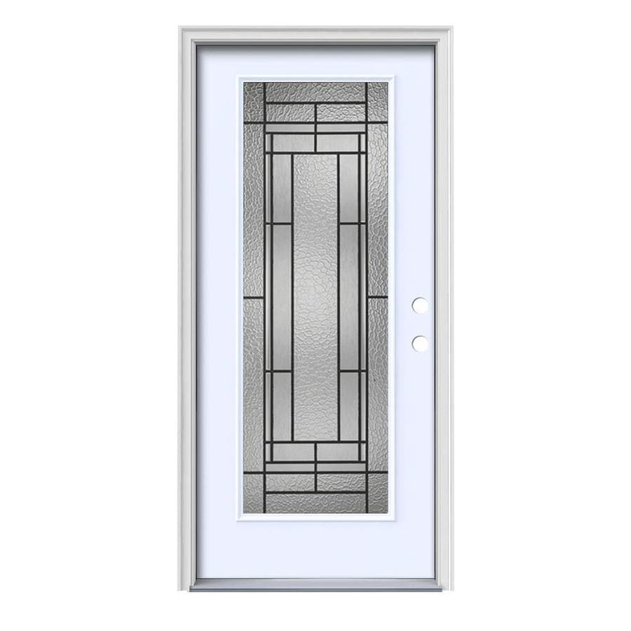 Shop jeld wen pembrook decorative glass left hand inswing for Exterior door insulation
