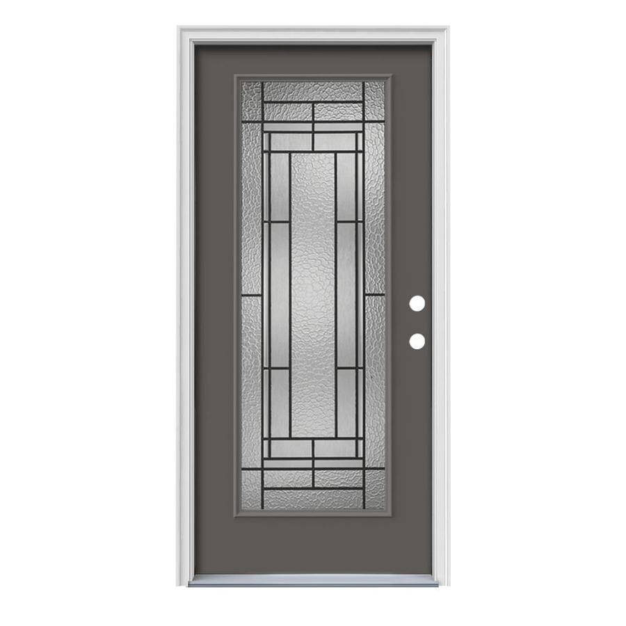 JELD-WEN Pembrook Decorative Glass Left-Hand Inswing Timber Gray Steel Painted Entry Door (Common: 36-in x 80-in; Actual: 37.5000-in x 81.7500-in)