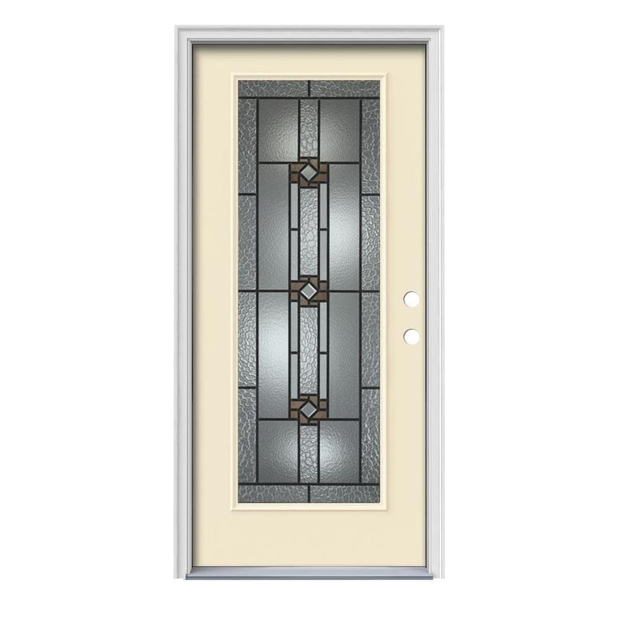 JELD-WEN Sonora Decorative Glass Left-Hand Inswing Bisque Painted Steel Prehung Entry Door with Insulating Core (Common: 36-in x 80-in; Actual: 37.5-in x 81.75-in)