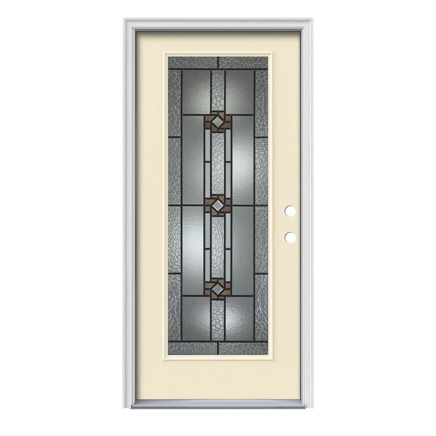 JELD-WEN Sonora Flush Insulating Core Full Lite Left-Hand Inswing Bisque Steel Painted Prehung Entry Door (Common: 36-in x 80-in; Actual: 37.5-in x 81.75-in)
