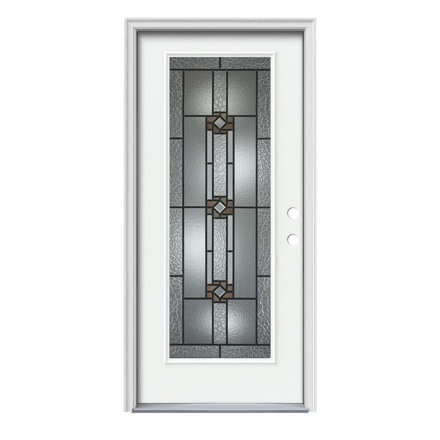 JELD-WEN Sonora Decorative Glass Left-Hand Inswing Modern White Steel Painted Entry Door (Common: 36-in x 80-in; Actual: 37.5-in x 81.75-in)