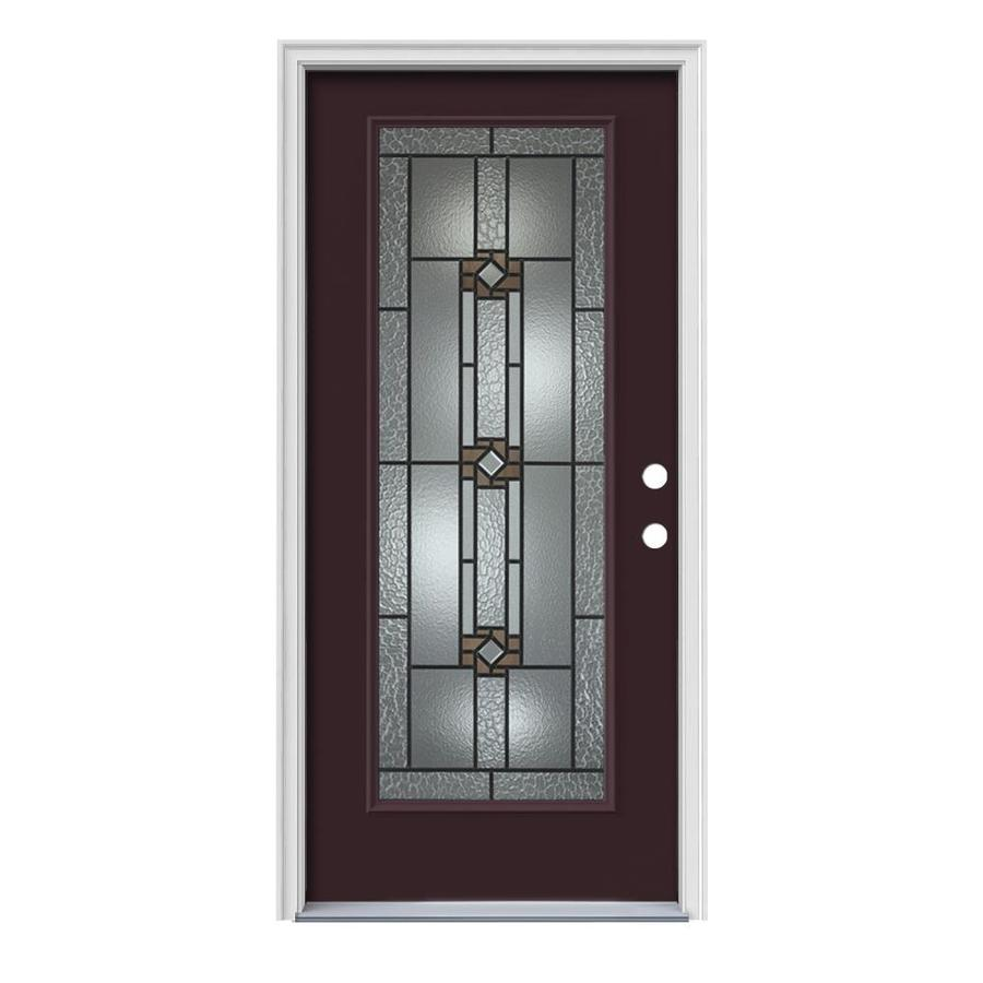 JELD-WEN Sonora Decorative Glass Left-Hand Inswing Currant Steel Painted Entry Door (Common: 36-in x 80-in; Actual: 37.5000-in x 81.7500-in)
