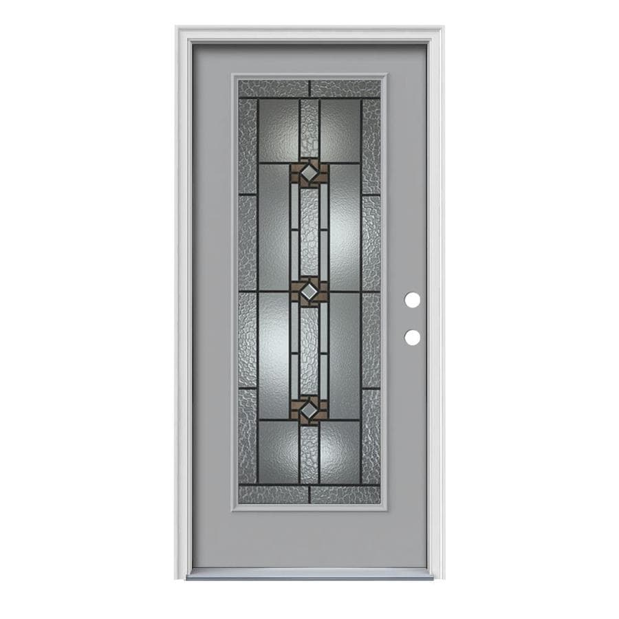 JELD-WEN Sonora Decorative Glass Left-Hand Inswing Infinity Grey Painted Steel Prehung Entry Door with Insulating Core (Common: 36-in x 80-in; Actual: 37.5000-in x 81.7500-in)