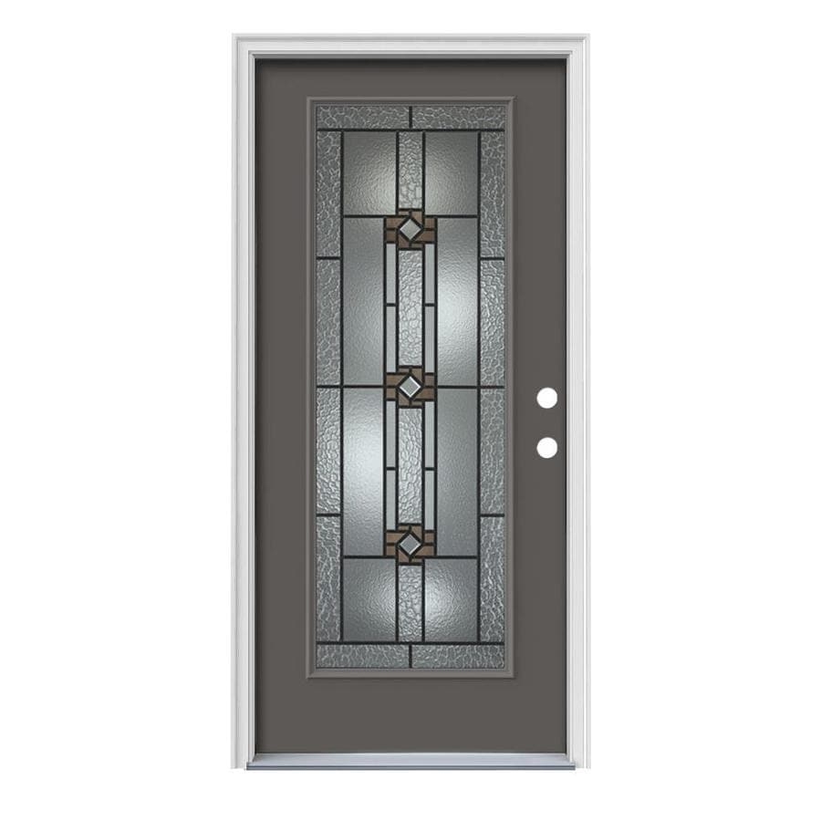 JELD-WEN Sonora Decorative Glass Left-Hand Inswing Timber Gray Steel Painted Entry Door (Common: 36-in x 80-in; Actual: 37.5000-in x 81.7500-in)